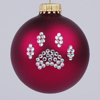 Cranberry Paw Print Ornament