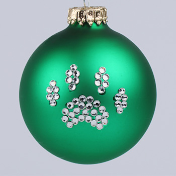 Green Paw Print Ornament