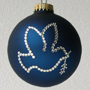 Navy Blue Dove with Olive Branch Ornament