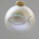 White Pearl Ichthus Ornament