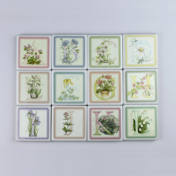 Wellspring Floral Initial Klipitz Tile Magnets